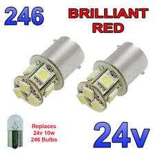 2 x Red 24v LED BA15s 246 R10W 8 SMD Number Plate Interior Bulbs HGV Truck