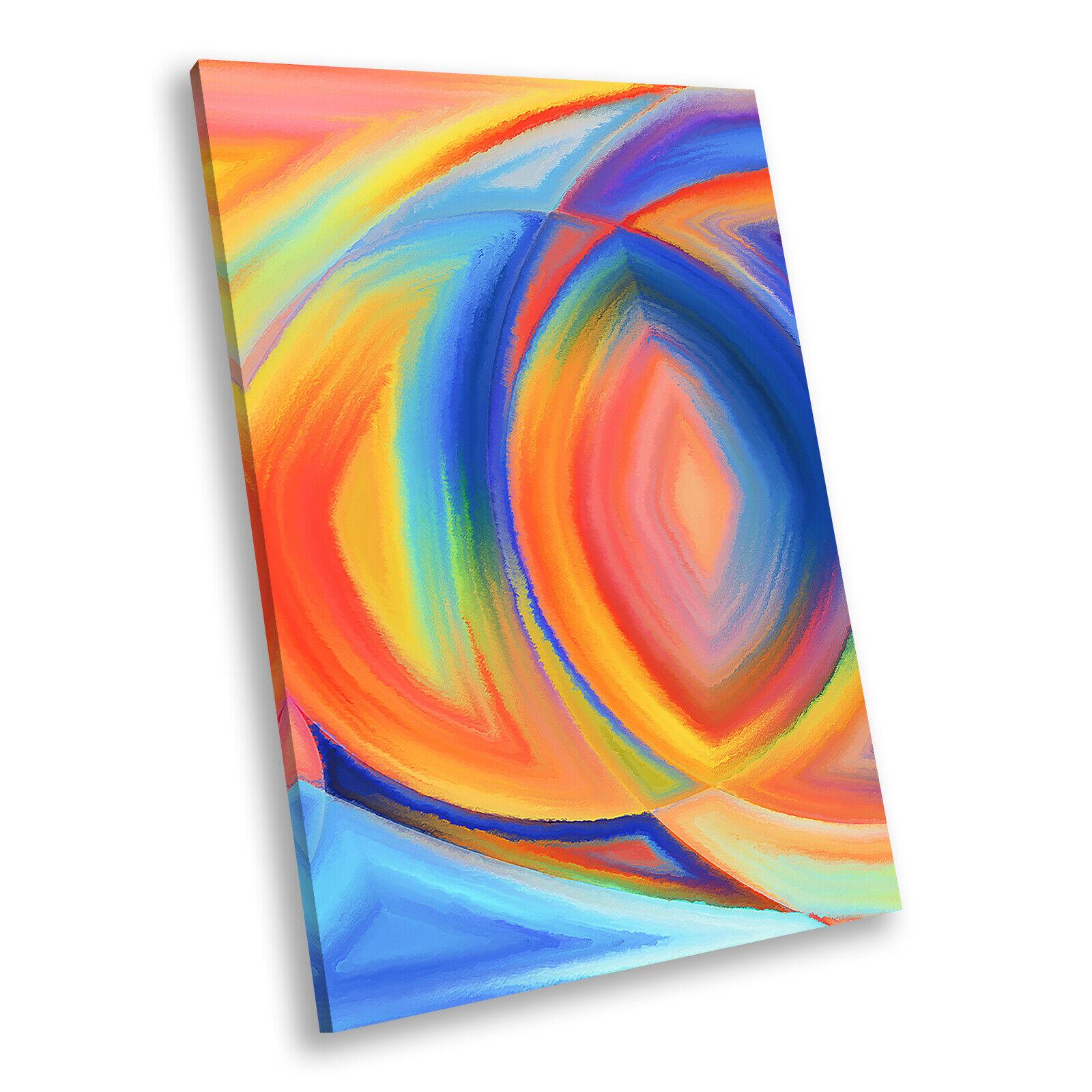 Blau Orange Colourful Portrait Abstract Canvas Wall Art Large Picture Prints