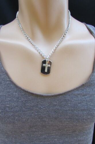 """New Men Necklace Fashion 18/"""" Rust Silver Chain Cross Pendant Back Oval Plate"""