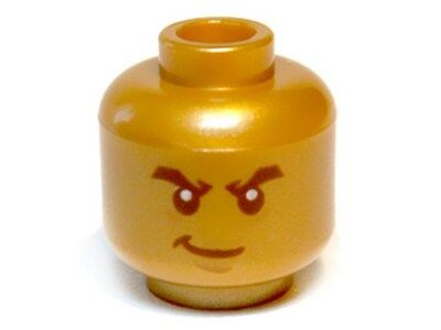White Pupils Head Male Minifig Pearl Gold Smirk Bushy Eyebrows LEGO
