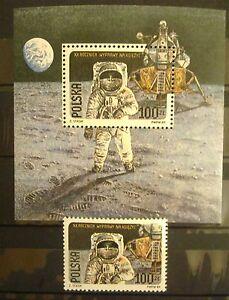 POLAND STAMPS MNH 1Fi3062+bl95B Sc2910+a Mi3206a+bl109a - On the moon, 1989, ** - Reda, Polska - POLAND STAMPS MNH 1Fi3062+bl95B Sc2910+a Mi3206a+bl109a - On the moon, 1989, ** - Reda, Polska