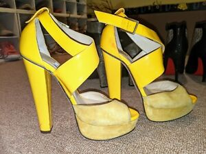 Jimmy Choo Yellow Leather Suede Strappy Platform Sandals