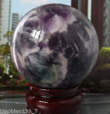 80mm purple Glow In The Dark Stone crystal Fluorite sphere ball  aa