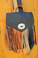 Genuine Leather Western Backpack FRINGE Handbag Sling Boho Bag Patchwork OoAK