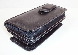 Samsonite-Black-Leather-Cell-Phone-Holder-w-Detachable-Zippered-Wallet