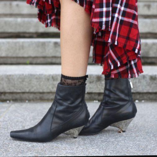 ZARA New Black Laminated Leather Hight Heel Ankle Boots Blog 5120/101 US 6.5 8
