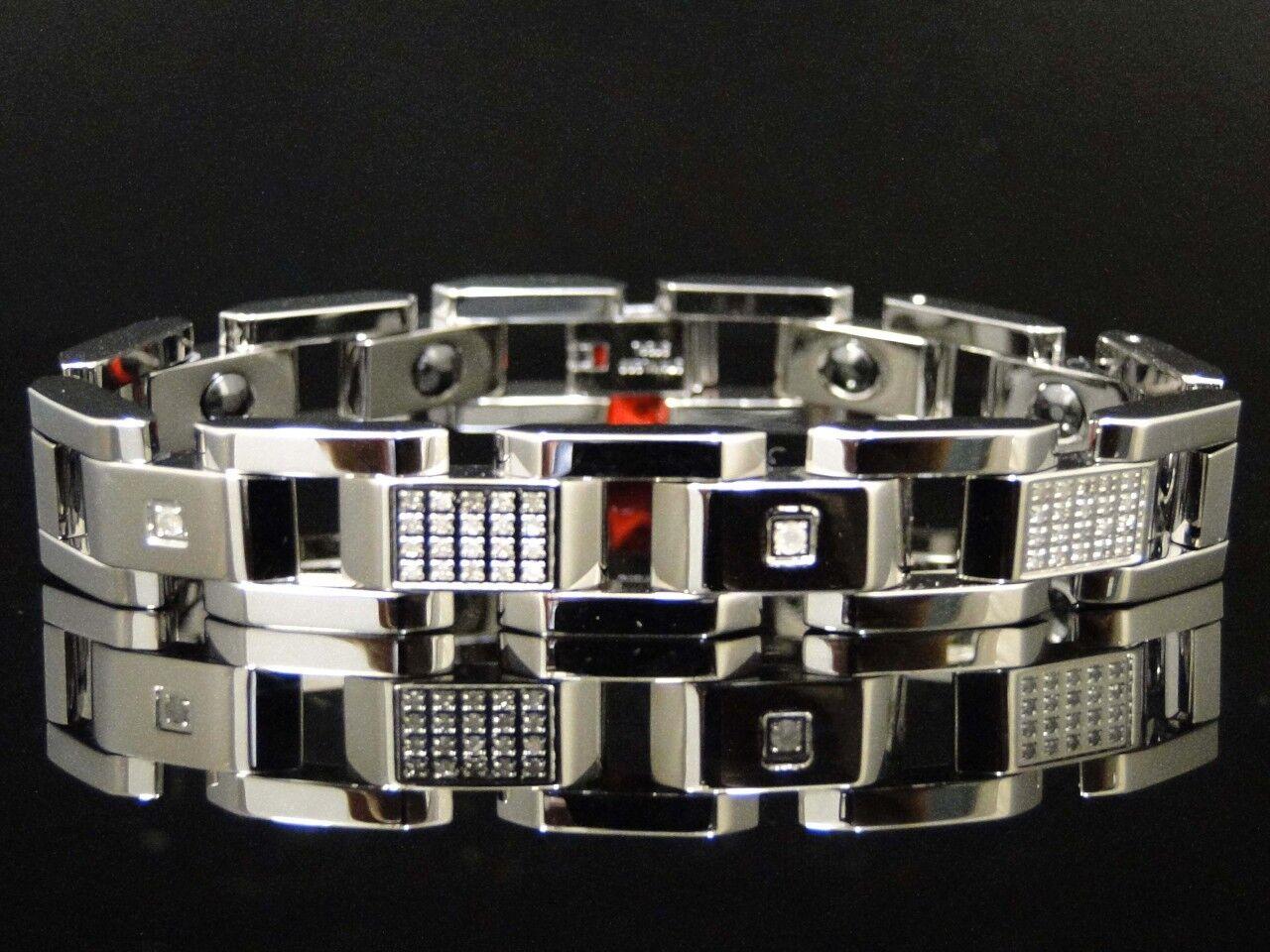 Da Uomo Uomo Uomo Vero Diamante Vero Acciaio Inox 12mm Bracciale .80 Kt 20.3cm 9d4698