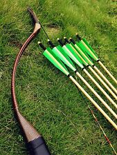 Brown recurve longbow  20# -60# Archery longbow+6 wooden arrows Nice set for you