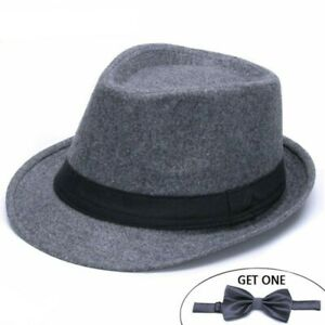 6732b563 Classic Solid Men's Dad Fedora Hats For Gentleman Woolen Jazz Church ...