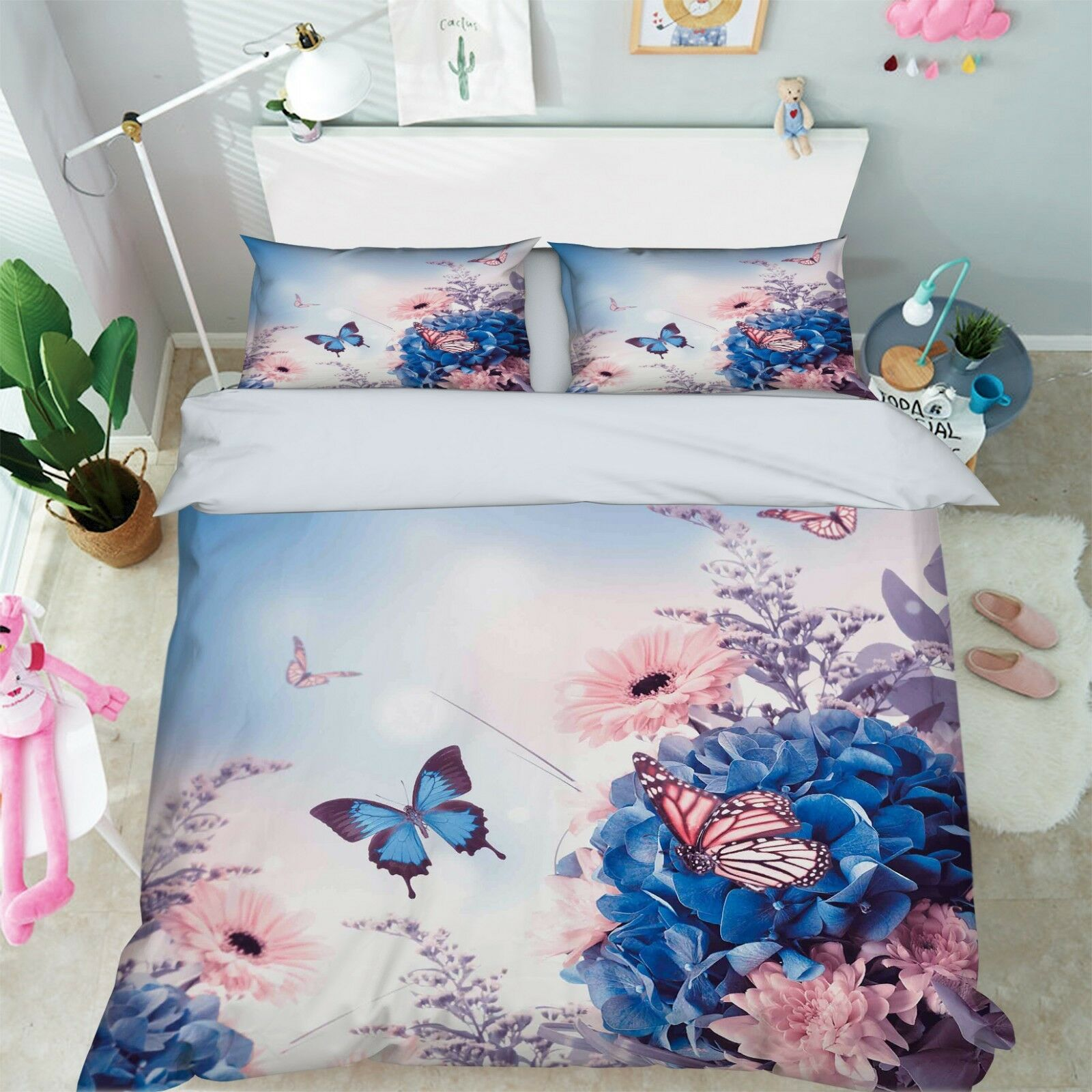 3D Flower Butterfly 8 Bed Pillowcases Quilt Duvet Cover Set Single King UK Lemon