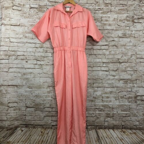 Vtg Saint Germain Jumpsuit Romper Peach Polyester