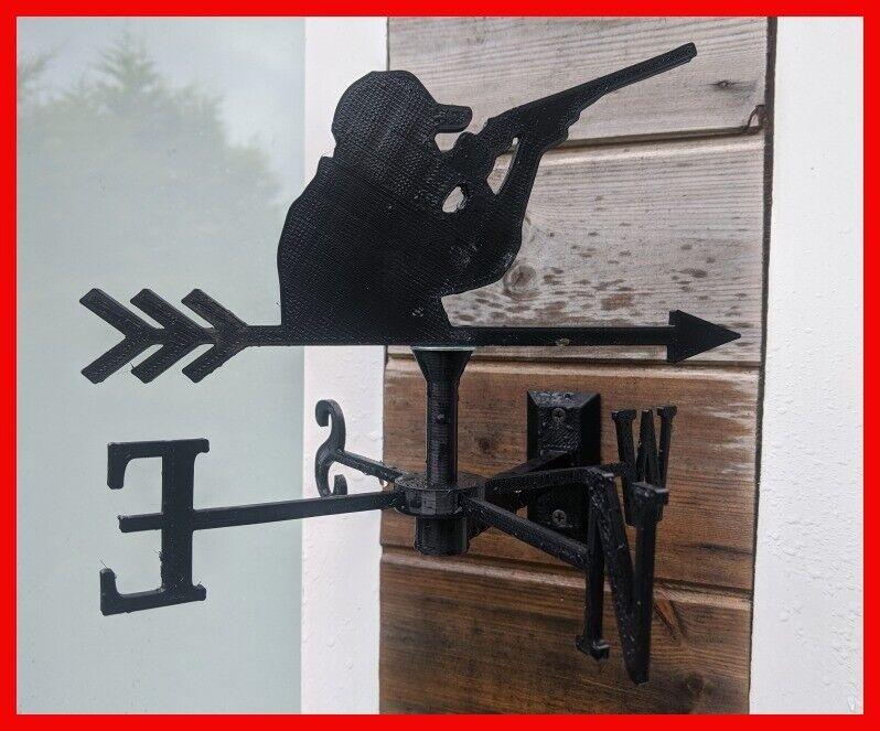 Shotgun Clay Pigeon Shooter Acrylic Garden Weather Vane Wall, Pole or Post Mount