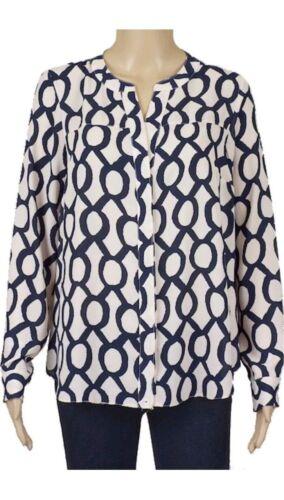 New Ex Principles Navy Chain Print Tunic Blouse Shirt Size 8-20 RRP £35.00