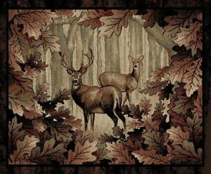 Lodge-Cabin-Deer-Buck-Leaves-Area-Rug-FREE-SHIPPING