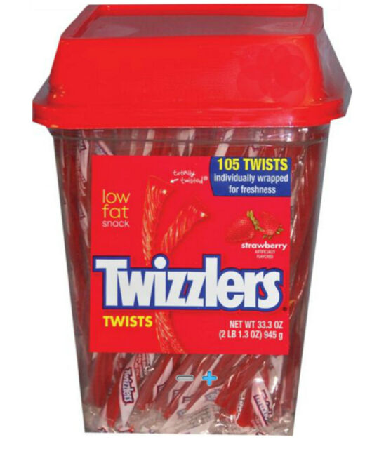 Twizzlers Strawberry Flavored Twists Candy, 2LB - 105 Pieces/Tub, Free Shipping
