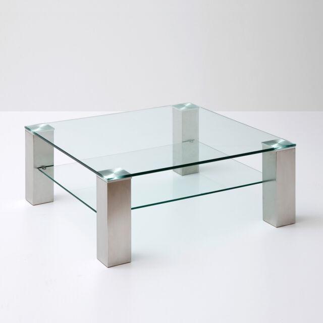 Glastisch asta i couchtisch glas wohnzimmertisch for Couchtisch quadratisch glas
