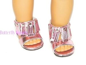 Pink-Metallic-Fringed-Sandals-18-in-Doll-Clothes-Fits-American-Girl