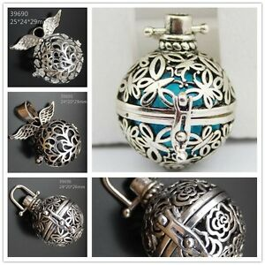 Mexican-Bola-Ball-Harmony-Ball-Openable-Silver-color-Angel-Caller-Locket-Pendant