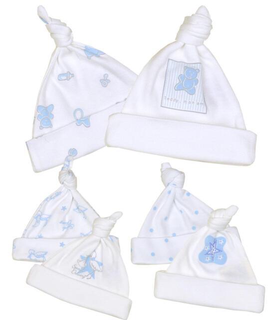 BabyPrem Baby Fr/ühchen Kleidung Packung mit 2 M/ützen aus Baumwolle Jungen 32-56cm Blau Wei/ß