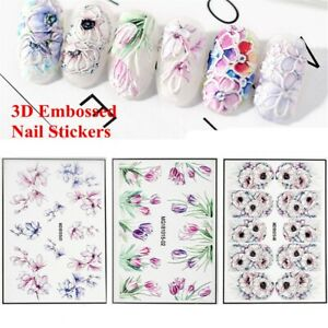 Fashion-Manicure-Art-3D-Engraved-Nail-Stickers-Water-Decals-Embossed-Flower