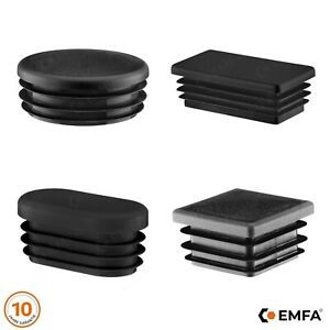 10 Stck Rechteckstopfen 70x40 mm Schwarz Kunststoff Endkappen Verschlusskappen