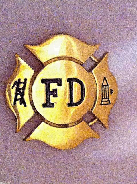 Solid Brass Fire Department (Fire FIghter) Badge Belt Buckle
