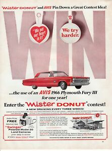 Vintage Automobile Print Car Ad 66 Plymouth Fury Iii Use Of Avis Mister Donut Ebay