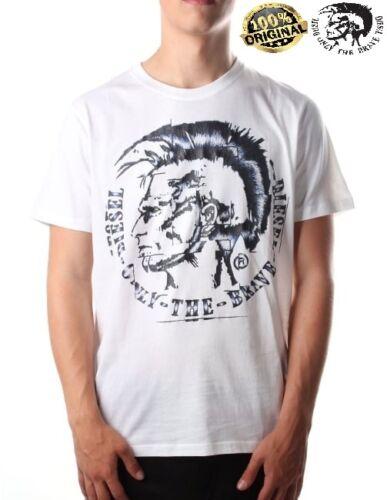 New Men/'s Diesel TShirt DIESEL T-JOE-GF 100 White Cotton TShirt all Sizes RRP£50