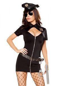 Polizei Kostüm Police Cop Gr.L 40 schwarz Gürtel Mütze Schlagstock etc.