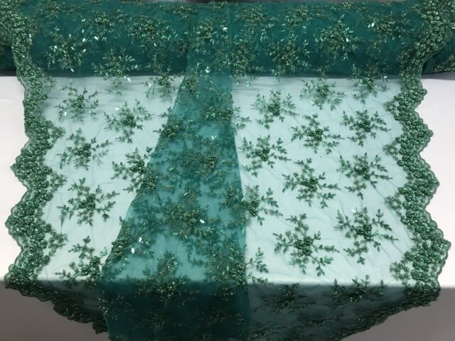 b9eeee01f9 Lace Fabric - Hunter Green Mesh Embroidery Beaded & Crystal Sequins by The  Yard