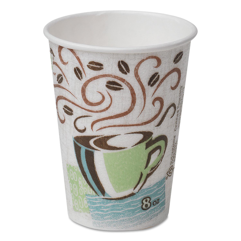 Dixie Hot Cups Paper 8 oz (environ 226.79 g) Café Dreams Design 1000 Carton 5338CD