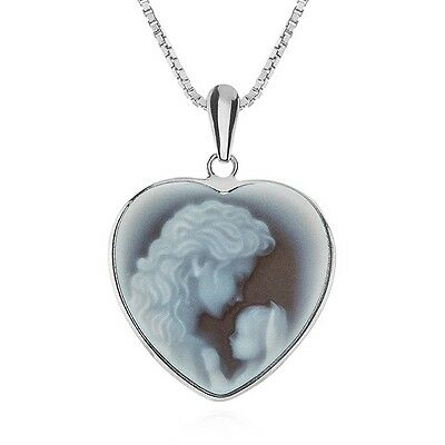 """Heaven's Gift Heart Cameo Pendant Framed in Sterling Silver with 18"""" Chain"""