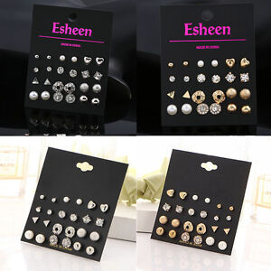 12-Pairs-Rhinestone-Crystal-Pearl-Ear-Stud-Heart-Triangle-Earrings-Set-Jewelry