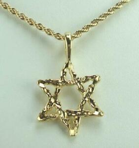"""18K Gold Plated Rope Chain W//Star Of David Pendnt 20/"""" LIFETIME WARRANTY"""