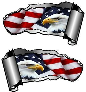 Small Pair Ripped Open Metal Rip GASH American Eagle & US Flag Car Sticker decal