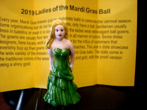 2019 Haydel/'s king cake doll LADIES of the BALL Mardi Gras GREEN New Orleans