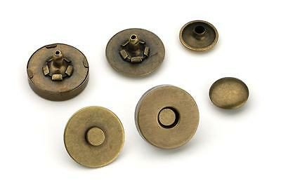 10pcs - 18mm Double Rivet Magnetic Purse Snaps - Antique Brass - (MAG-202)