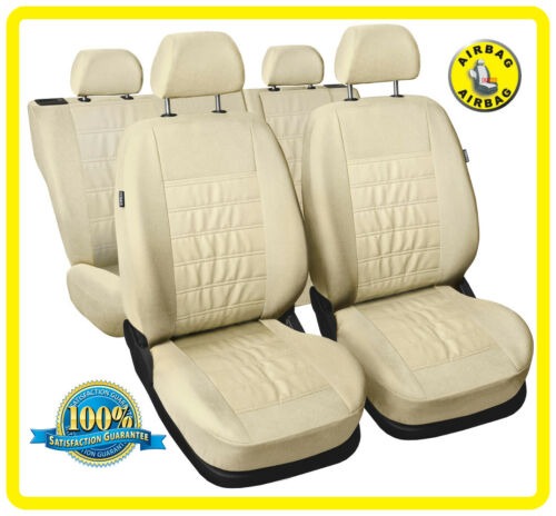 Eco leathe leatherette beige CAR SEAT COVERS full set fit KIA PICANTO