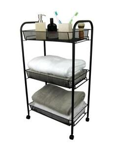 Image Is Loading 3 Tier Bathroom Storage Trolley Toiletry Linen Cart
