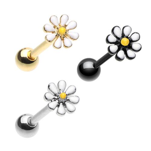 Silver /& Black /& Golden Daisy Flower Barbell Tongue Ring