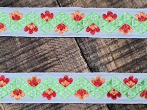 laverslace Green Floral Woven Jacquard Braid Ribbon Trim 20mm Sewing Crafts