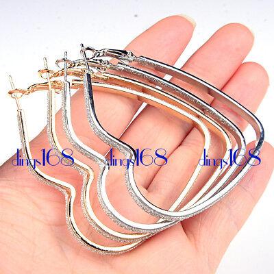 Fashion Women Scrub Earrings Hoop Round Shape Earrings Jewelry Gold Silver