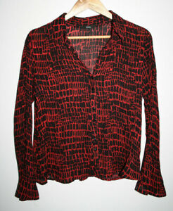 Marks-and-Spencer-Women-039-s-Geometric-Red-Black-Office-Shirt-Blouse-Top-Size-12
