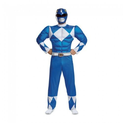 Disguise Power Rangers Blue Classic Muscle Adult Mens Halloween Costume 79731