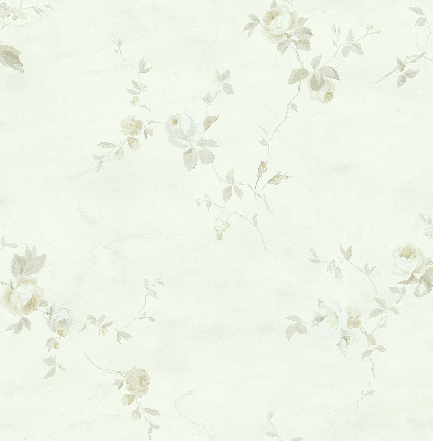 Floral Wallpaper Silver Gold Green Abstract Watercolor Samples