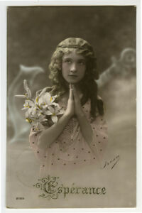 1910s-Pretty-Young-GIRL-child-children-ANCHOR-OF-HOPE-photo-postcard