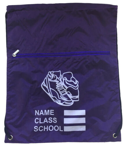 Personalised Drawstring Zip School Gymsac Sports Gym Bag Swim Nursery
