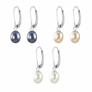 Genuine-Sterling-Silver-Leverback-Freshwater-Pearls-Drop-Earrings
