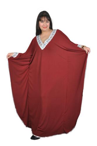 Damen Kaftan Kleid im Butterfly Look Sommer Urlaub Hauskleid in weinrot  KA00958