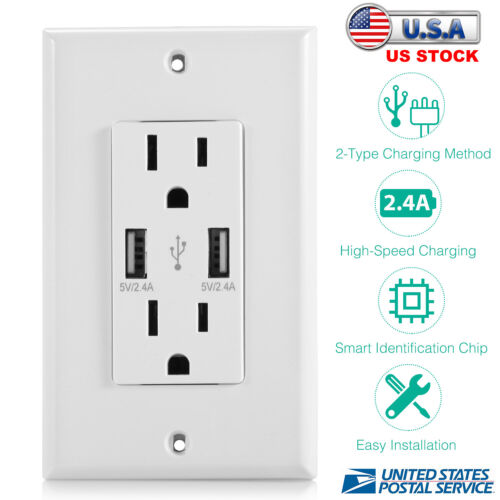 WALL OUTLET DUAL 2.4A USB WALL CHARGER HIGH SPEED DUPLEX WALL SOCKET US STANDARD